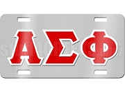 Alpha Sigma Phi License Plate with White and Red Letters on Silver Background
