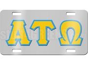 Alpha Tau Omega License Plate with Old Gold and Azure Letters on Silver Background