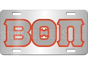 Beta Theta Pi License Plate with Gray and Red Letters on Silver Background