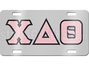 Chi Delta Theta License Plate with Pink and Black Letters on Silver Background