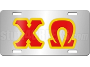 Chi Omega License Plate with Red and Yellow Letters on Silver Background