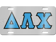 Delta Lambda Chi License Plate with Baby Blue and Black Letters on Silver Background