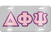 Delta Phi Psi License Plate with Pink and Purple Letters on Silver Background
