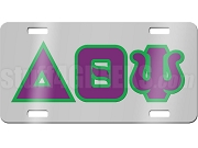 Delta Theta Psi License Plate with Purple and Green Letters on Silver Background