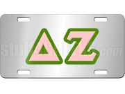 Delta Zeta License Plate with Rose and Green Letters on Silver Background