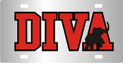 Diva Elephant License Plate with Red and Black Letters on Chrome Background