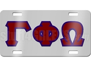 Gamma Phi Omega Sorority License Plate with Crimson and Navy Blue Letters on Silver Background