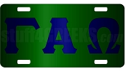 Gamma Alpha Omega License Plate with Navy Blue Lettters on Forest Green Background (CQ)