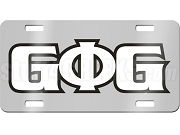 Groove Phi Groove License Plate with White and Black Letters on Silver Background