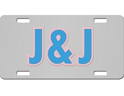 Jack & Jill License Plate with Red and White Letters on Silver Background