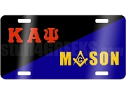 Kappa Alpha Psi/Mason License Plate with Square and Compass on Split Background