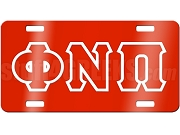 Kappa Alpha Psi License Plate with Red Phi Nu Pi Greek Letters on Red Background