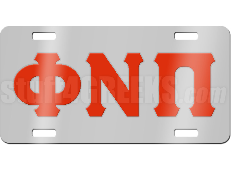 Greek Letter Before Kappa.Kappa Alpha Psi License Plate With Red Phi Nu Pi Greek Letters On Silver Background Kk