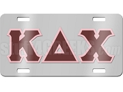 Kappa Delta Chi License Plate with Maroon and Pink Letters on Silver Background