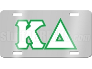 Kappa Delta License Plate with White and Green Letters on Silver Background