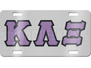 Kappa Lambda Xi License Plate with Lavender and Black Letters on Silver Background