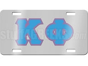Kappa Phi Club License Plate with Light Blue and Lavender Letters on Silver Background