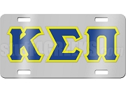 Kappa Sigma Pi License Plate with Blue and Gold Letters on Silver Background