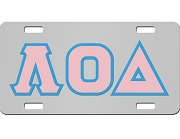 Lambda Omicron Delta License Plate with Light Pink and Light Blue Letters on Silver Background