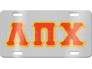 Lambda Pi Chi License Plate with Red and Gold Letters on Silver Background