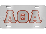 Lambda Theta Alpha License Plate with Gray and Crimson Letters on Silver Background