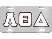 Lambda Theta Delta License Plate with White and Brown Letters on Silver Background