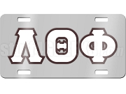 Lambda Theta Phi License Plate with White and Brown Letters on Silver Background