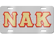Nu Alpha Kappa License Plate with Vegas Gold and Red Letters on Silver Background