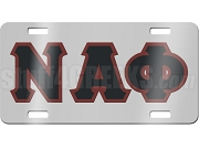 Nu Alpha Phi License Plate with Black and Maroon Letters on Silver Background