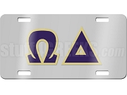 Omega Delta License Plate with Navy Blue and Vegas Gold Letters on Silver Background