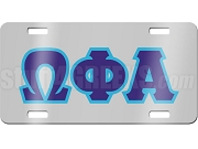 Omega Phi Alpha License Plate with Navy and Baby Blue Letters on Silver Background