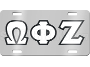 Omega Phi Zeta License Plate with White and Black Letters on Silver Background