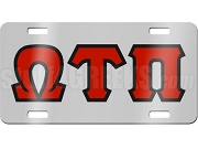 Omega Tau Pi License Plate with Red and Black Letters on Silver Background