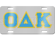 Omicron Delta Kappa License Plate with Columbia Blue and Gold Letters on Silver Background