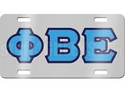 Phi Beta Epsilon License Plate with Columbia Blue and Navy Blue Letters on Silver Background