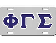 Phi Gamma Sigma License Plate with Navy Blue and White Letters on Silver Background