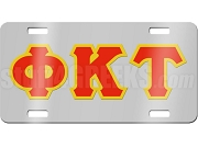Phi Kappa Tau License Plate with Red and Old Gold Letters on Silver Background