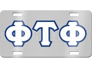 Phi Tau Phi License Plate with  White and Royal Blue Letters on Silver Background