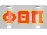 Phi Theta Pi License Plate with Red and Gold Letters on Silver Background