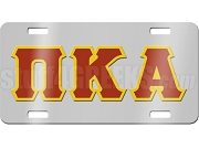 Pi Kappa Alpha License Plate with Crimson and Gold Letters on Silver Background