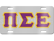 Pi Sigma Epsilon License Plate with Purple and Gold Letters on Silver Background