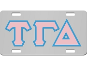 Tau Gamma Delta License Plate with Light Pink and Light Blue Letters on Silver Background