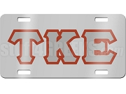 Tau Kappa Epsilon License Plate with Gray and Crimson Letters on Silver Background