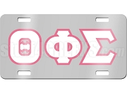 Theta Phi Sigma License Plate with White and Hot Pink Letters on Silver Background