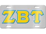 Zeta Beta Tau License Plate with Gold and Columbia Blue Letters on Silver Background