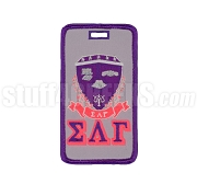 Sigma Lambda Gamma Embroidered Luggage Tag with Sheild and Greek Letters, Full Color
