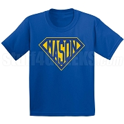 Mason Screen Printed T-Shirt with Letters Inside Superman Shield, Royal Blue