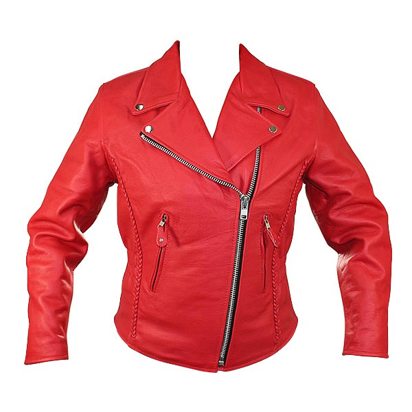 c2b46c2b1 DISCONTINUED - Custom Ladies' Classic Braided Motorcycle Leather Jacket -  Xelement (B8003-Red)