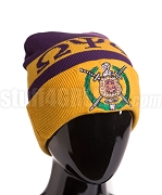 Omega Psi Phi Beanie Hat with Organization Name and Crest - Gold (SAV)