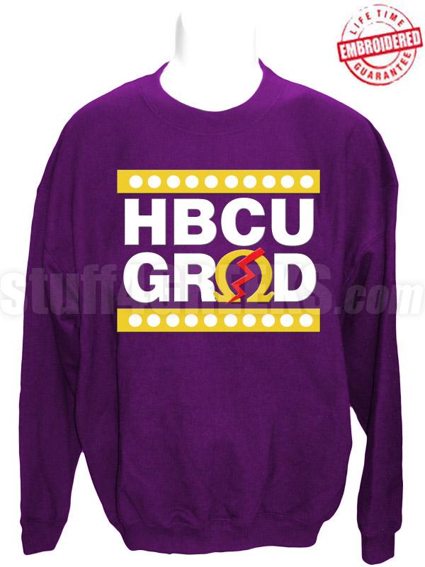Omega Psi Phi Hbcu Grad Crewneck Sweatshirt Purple Embroidered